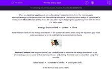 'Energy Cost' worksheet