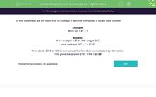 'Multiply Decimal Numbers by One-Digit Numbers' worksheet