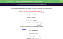 'Find Percentages of Numbers, Quantities and Measurements' worksheet