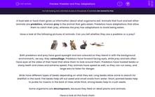'Predator and Prey: Adaptations' worksheet