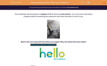 'Reading Fiction: 'Holes' by Louis Sachar 2' worksheet