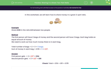 'Sharing in a Given Two-Part Ratio' worksheet