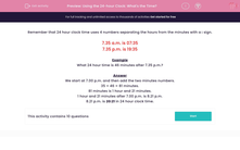 'Using the 24-hour Clock: What's the Time?' worksheet