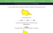 'Finding a Side Length Using Trigonometry (1)' worksheet