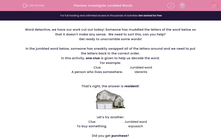 'Investigate Jumbled Words' worksheet