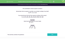 'Mental Calculations with Square Numbers' worksheet