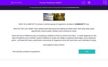 'Studying a Habitat' worksheet