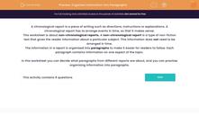 'Organise Information into Paragraphs' worksheet