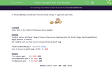'Sharing in a Given Three-Part Ratio' worksheet