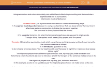 'Consolidate Understanding of Colons and Semi-Colons' worksheet