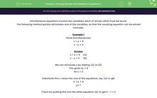 'Solving Simple Simultaneous Equations' worksheet