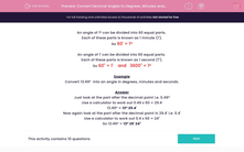 'Convert Decimal Angles to Degrees, Minutes and Seconds' worksheet