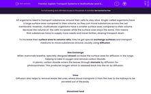 'Explain Transport Systems in Multicellular and Single-Celled Organisms' worksheet