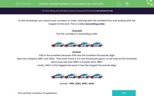 'Arrange Numbers in Ascending Order: 1001 to 9999' worksheet