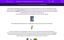 'How are Plants Adapted to Suit Their Environment?' worksheet