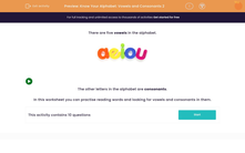 'Know Your Alphabet: Vowels and Consonants 2' worksheet
