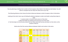 'Interpreting Tables: What is the Distance? (1)' worksheet