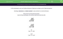 'Written Division Calculations' worksheet