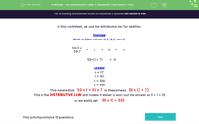 'The Distributive Law in Addition (Numbers <100)' worksheet