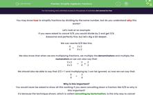 'Simplify Algebraic Fractions' worksheet