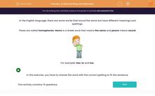 'Understanding Homophones' worksheet