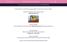 'Identify the odd word out' worksheet