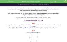 'Solve Quadratic Inequalities' worksheet