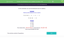 'The Distributive Law in Addition (numbers <20)' worksheet