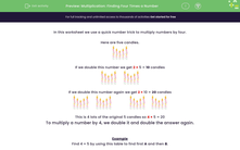 'Multiplication: Finding Four Times a Number' worksheet
