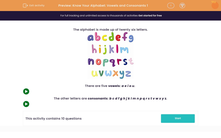 'Know Your Alphabet: Vowels and Consonants 1' worksheet