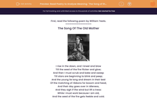 'Read Poetry to Analyse Meaning: 'The Song of the Old Mother'' worksheet