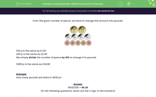 'Counting Cash: Write the Amount in Pounds' worksheet