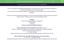 'Solve Simultaneous Equations both Linear and Quadratic' worksheet