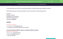 'Using Brackets in Different Places for Different Answers' worksheet