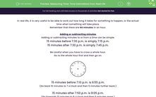 'Measuring Time: Time Estimations from Real Life' worksheet