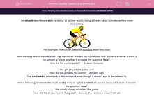 'Identify Adverbs in a Sentence 2' worksheet