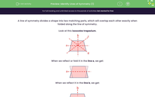 'Identify Lines of Symmetry (1)' worksheet