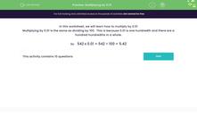 'Multiplying by 0.01' worksheet