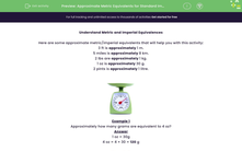 'Approximate Metric Equivalents for Standard Imperial Measures' worksheet