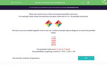 'Outcomes and Probability (3)' worksheet