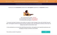 'Revise Declarative, Interrogative and Imperative Statements' worksheet