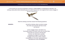 'Reading Shakespeare: Macbeth (5) - Macbeth's Dagger Soliloquy (Act II, Scene 1)' worksheet