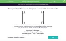 'Understanding Rectangles' worksheet