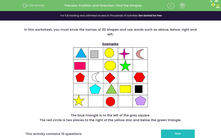 'Position and Direction: Find the Shapes' worksheet