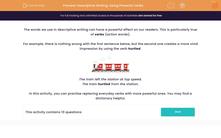'Descriptive Writing: Using Powerful Verbs' worksheet