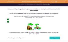 'Change the Gender of Words 1' worksheet