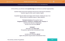 'Use Question Tags' worksheet