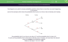 'Probability Tree Diagrams (1)' worksheet