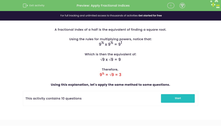 'Apply Fractional Indices' worksheet