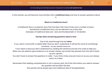 'Understand the Writing Genre of Traditional Stories' worksheet